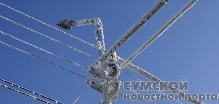 снег на проводах
